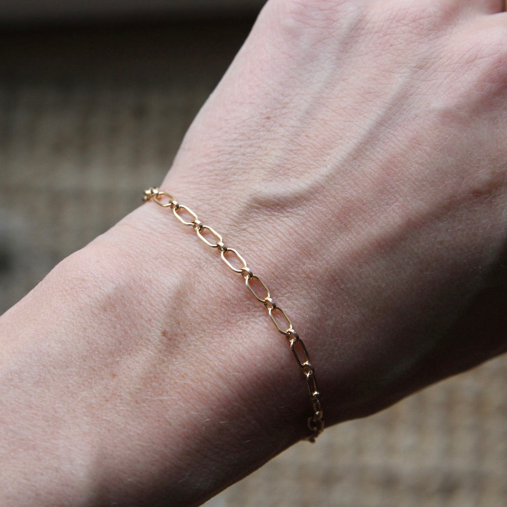 Oval Gold filled Chain Bracelet