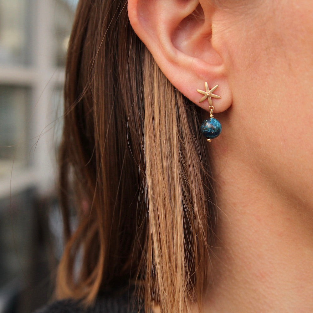 Star Post Earring w/ Gemstone Ball Drop