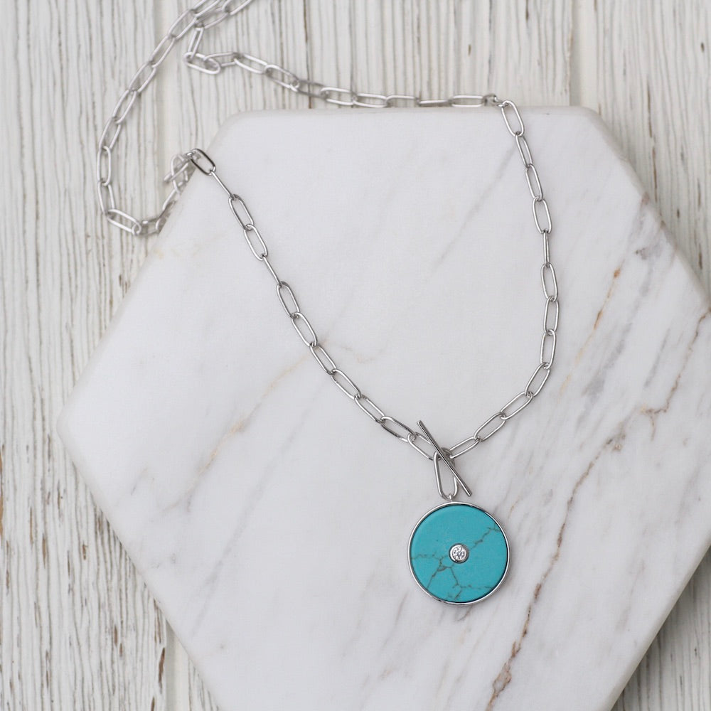Silver Turquoise T-bar Necklace