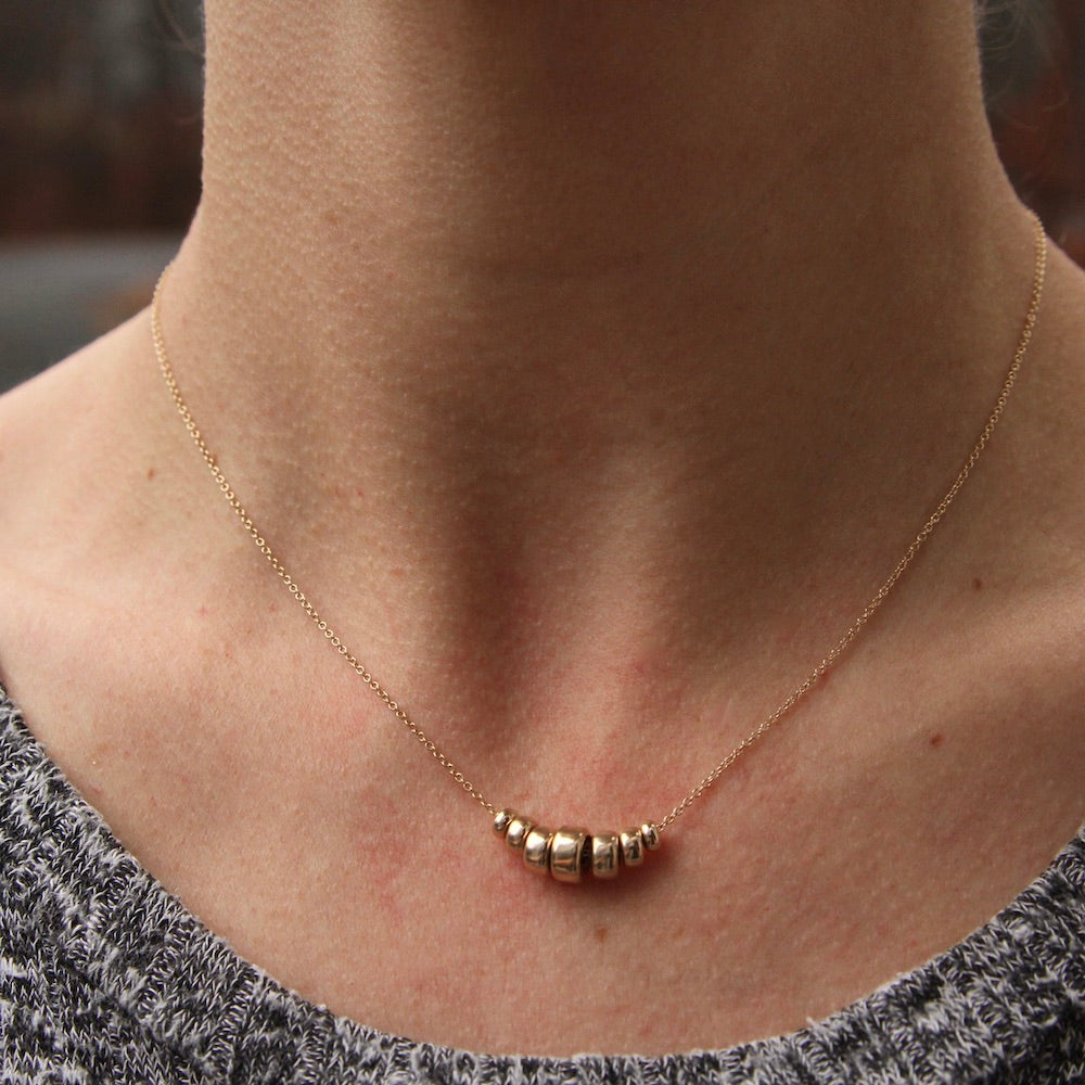 14K Gold Graduated 7 Rondelle Necklace