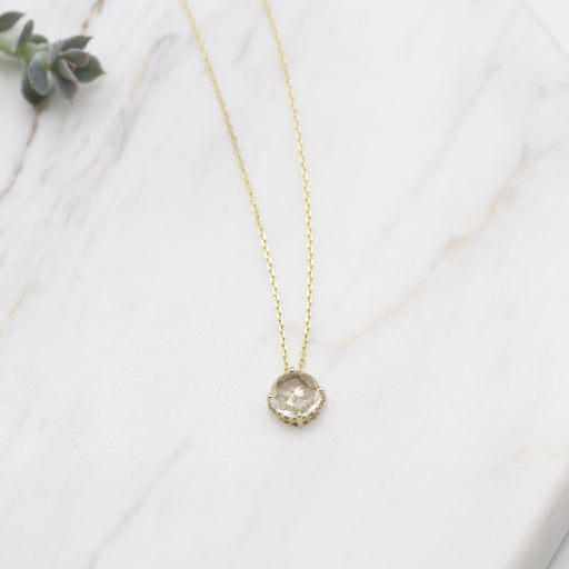 14k Gold and White Topaz Necklace
