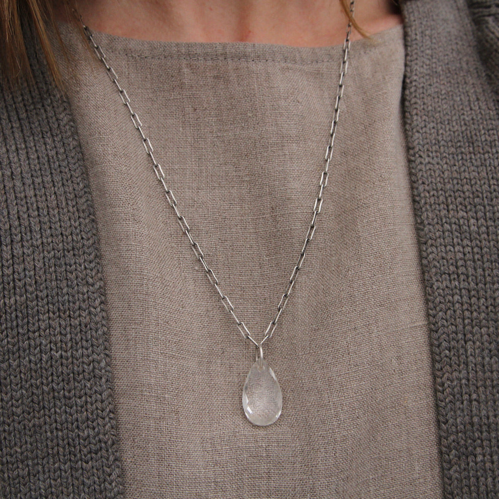 Clear Quartz Teardrop on Oxidized Link Chain