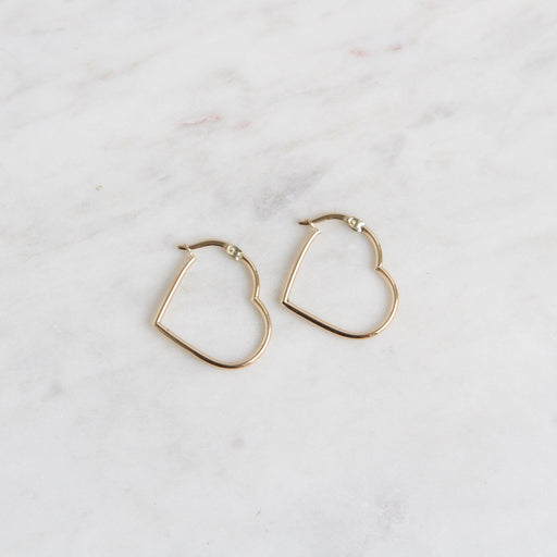 14k Gold Heart Hoops