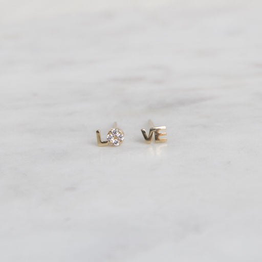 LO-VE 14k Gold & Diamond Studs