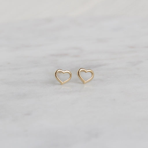 14k Gold Open Heart Posts