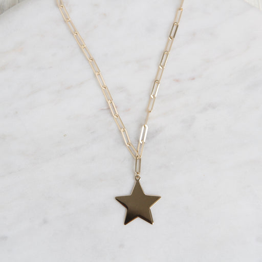 14k Yellow Gold Paperclip Chain with Star Pendant