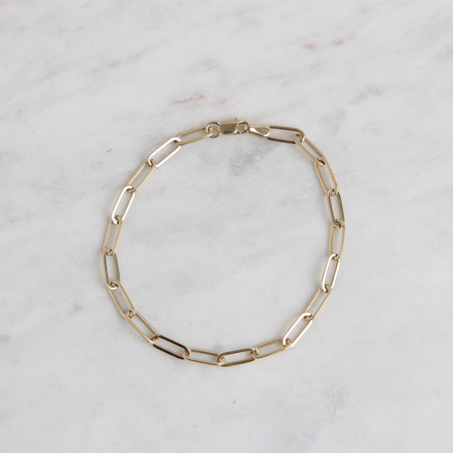 14k Yellow Gold Mini Paperclip Chain Bracelet