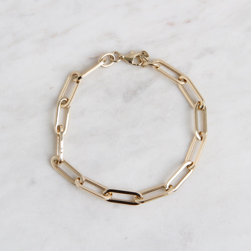 14k Yellow Gold Large Paperclip Chain Bracelet