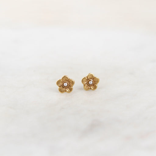 Tiny Flower Post Earring- Gold Plate