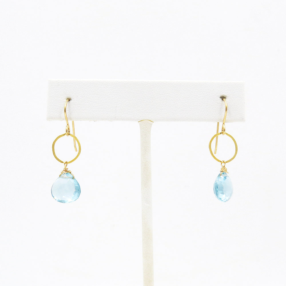 BLUE TOPAZ LOOP EARRINGS