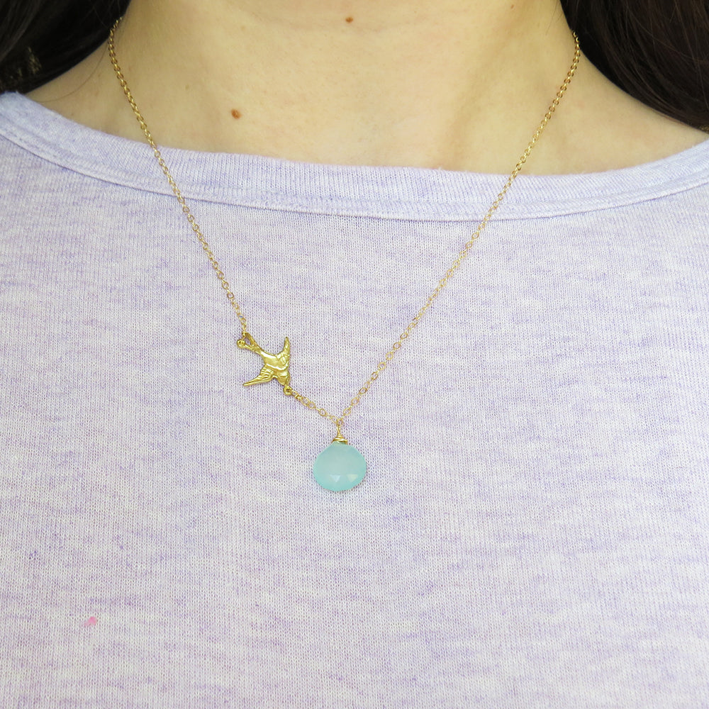 CHALCEDONY AND BIRD NECKLACE
