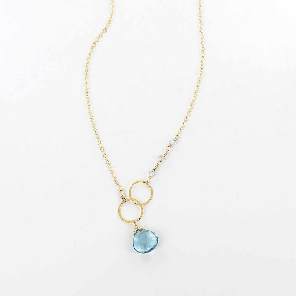 BLUE TOPAZ AND LOOPED GOLD NECKLACE