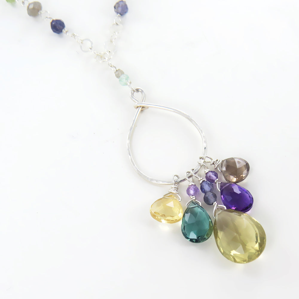 Sterling Silver Loop with Semi-Precious Stone Cluster Necklace