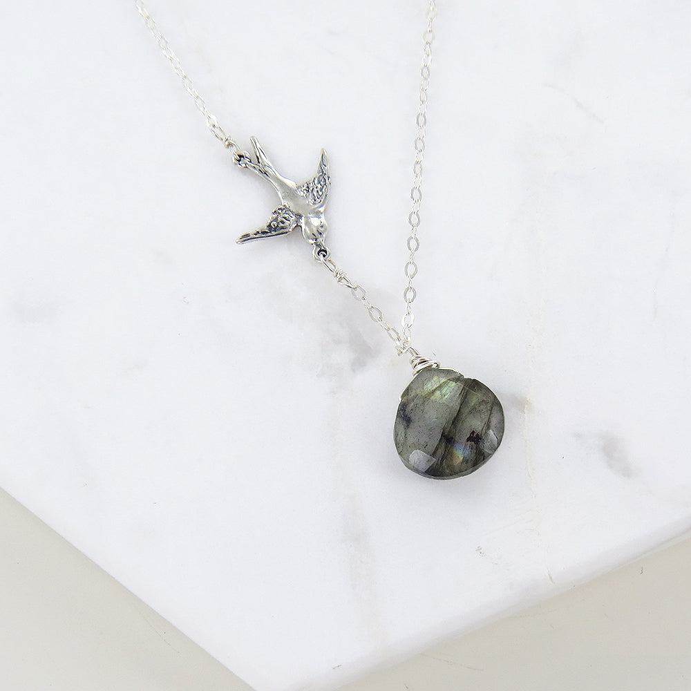 LABRADORITE AND BIRD NECKLACE