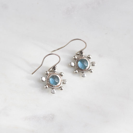 Blue Topaz Earrings with Dot Accents