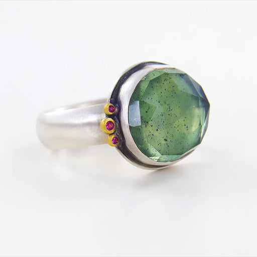 ROSECUT MOSS AQUAMARINE OVAL RING