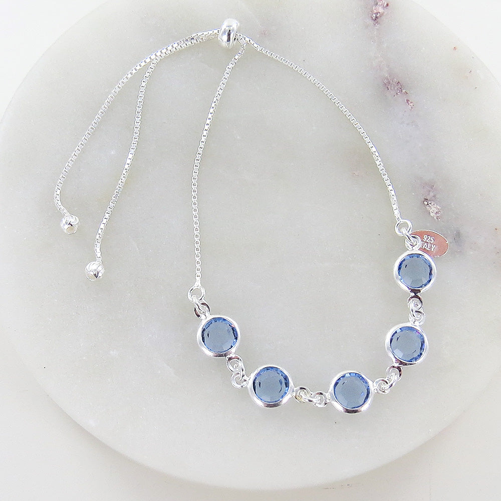 CRYSTAL BLUE BUBBLES PULL CHAIN BRACELET