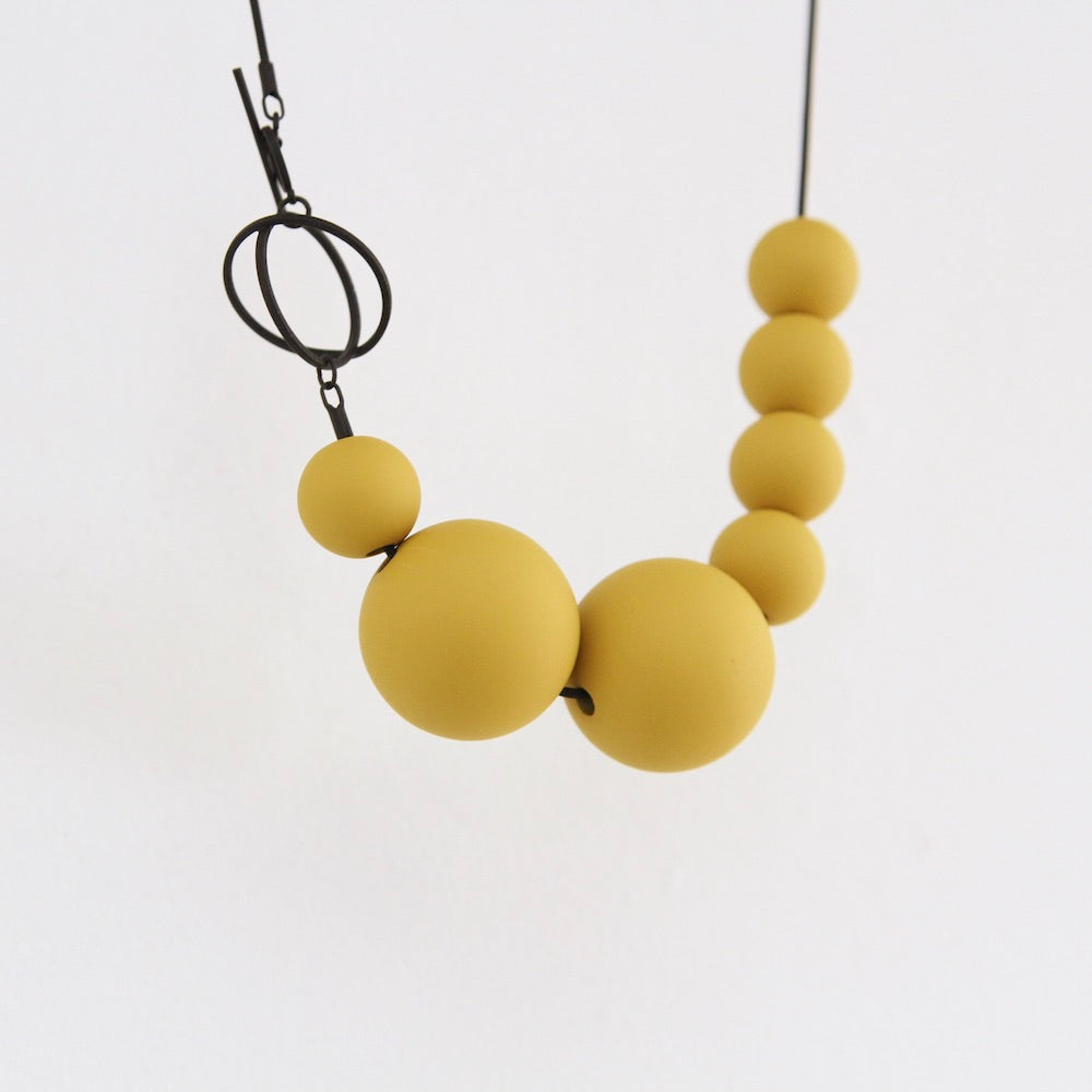 Orbits Necklace ~ Matte Black and Dijon