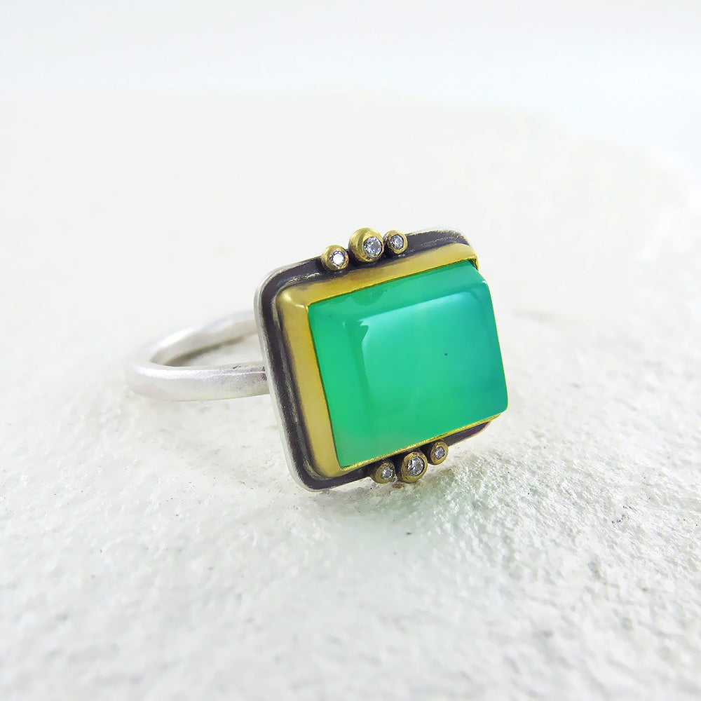RECTANGLE CHRYSOPHRASE RING
