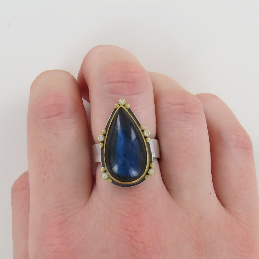 ONE OF A KIND TEARDROP BLUE LABRADORITE RING