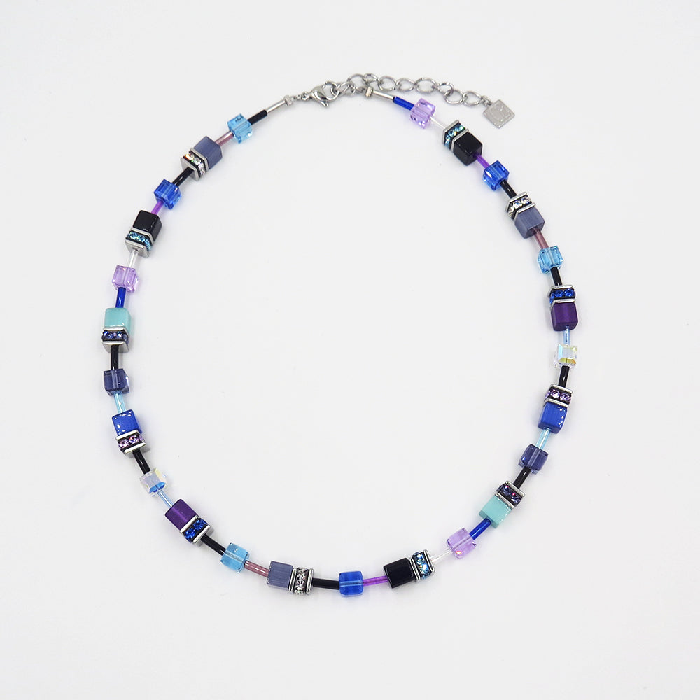 PURPLE CAT EYE GEOCUBE NECKLACE