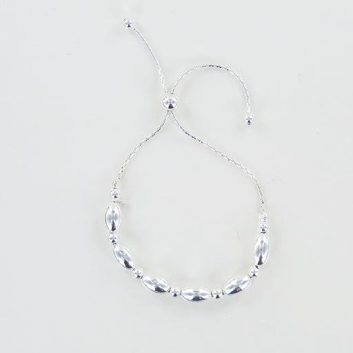ROUND AND OVAL BEAD PULL CHAIN BRACELET