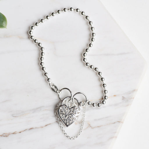 Ball Chain Bracelet with Filagree Heart Lock