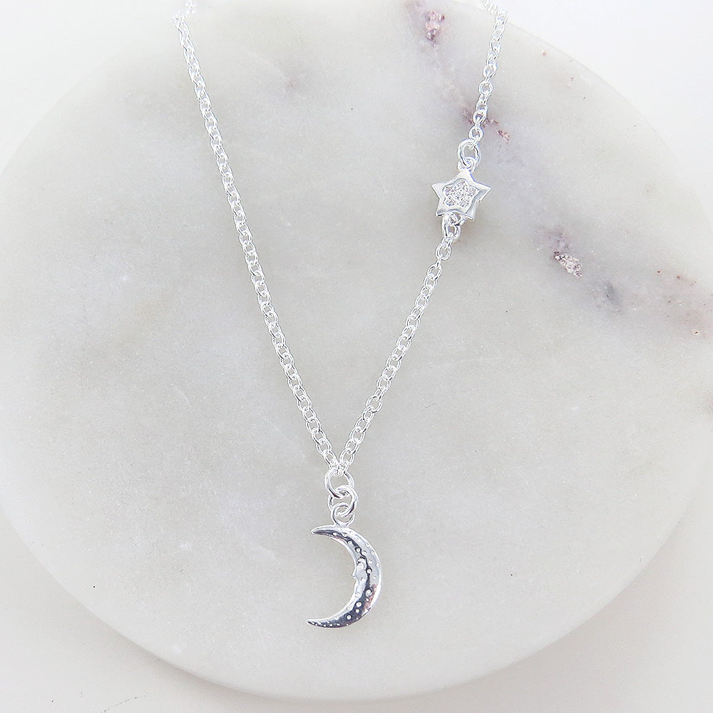 MOON WITH OFFSET STAR NECKLACE