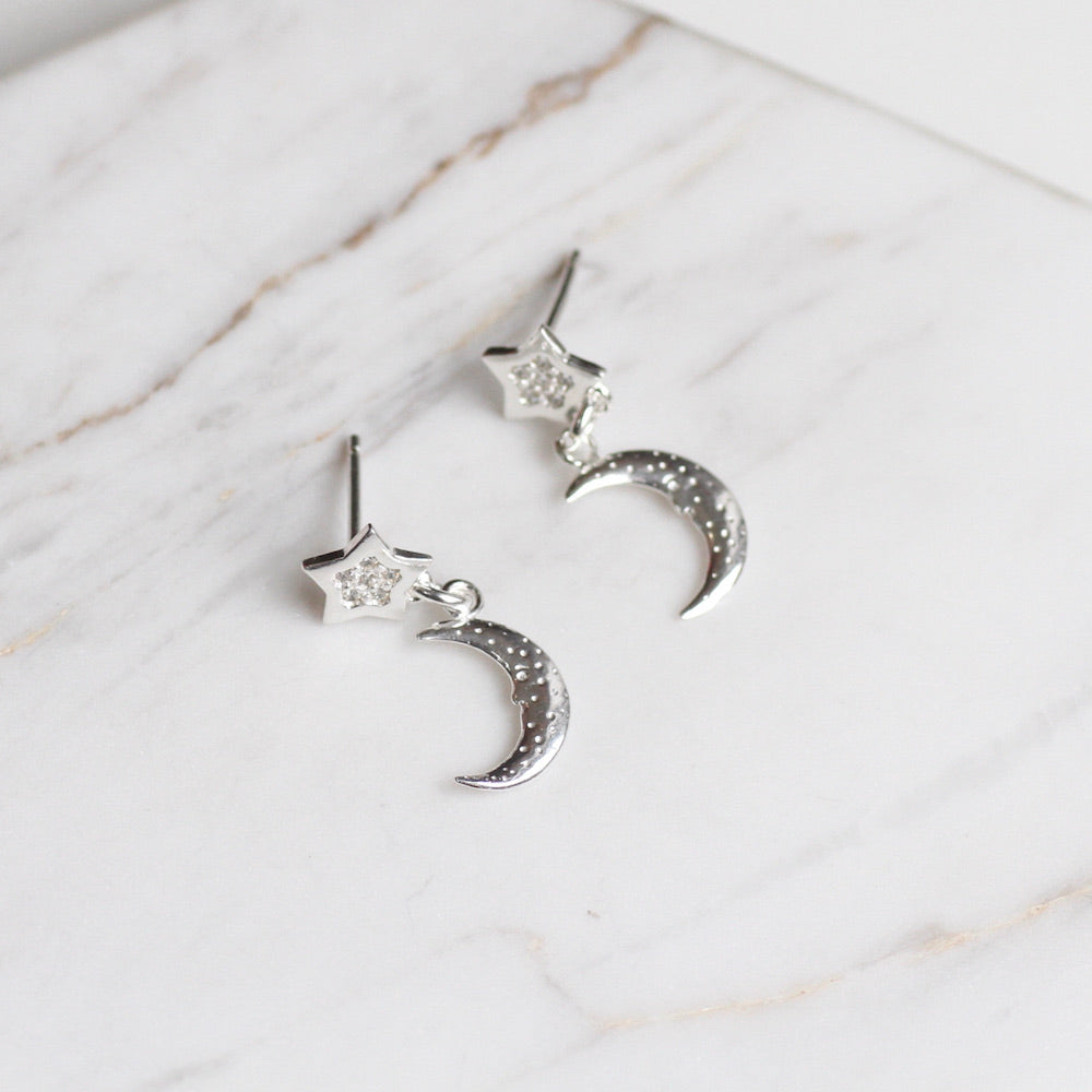 Crescent Moon On Star Post Earrings
