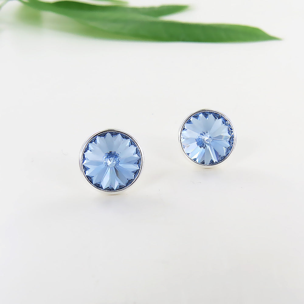 Light Blue Crystal Post Earring