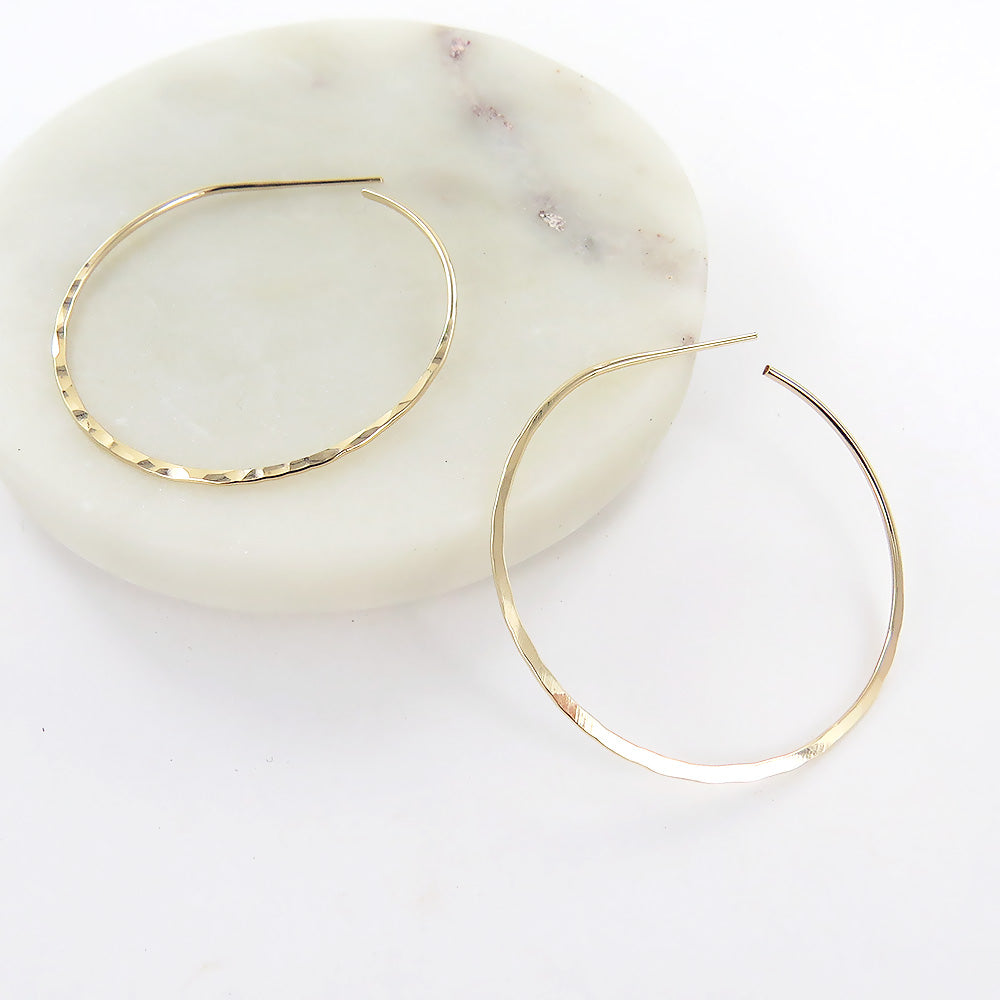 45MM GOLD THIN HAMMERED HOOP