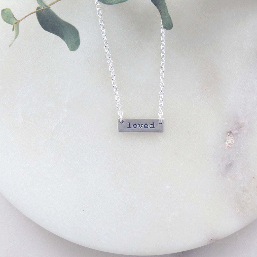 `LOVED` TINY PLATE BRUSHED SILVER NECKLACE