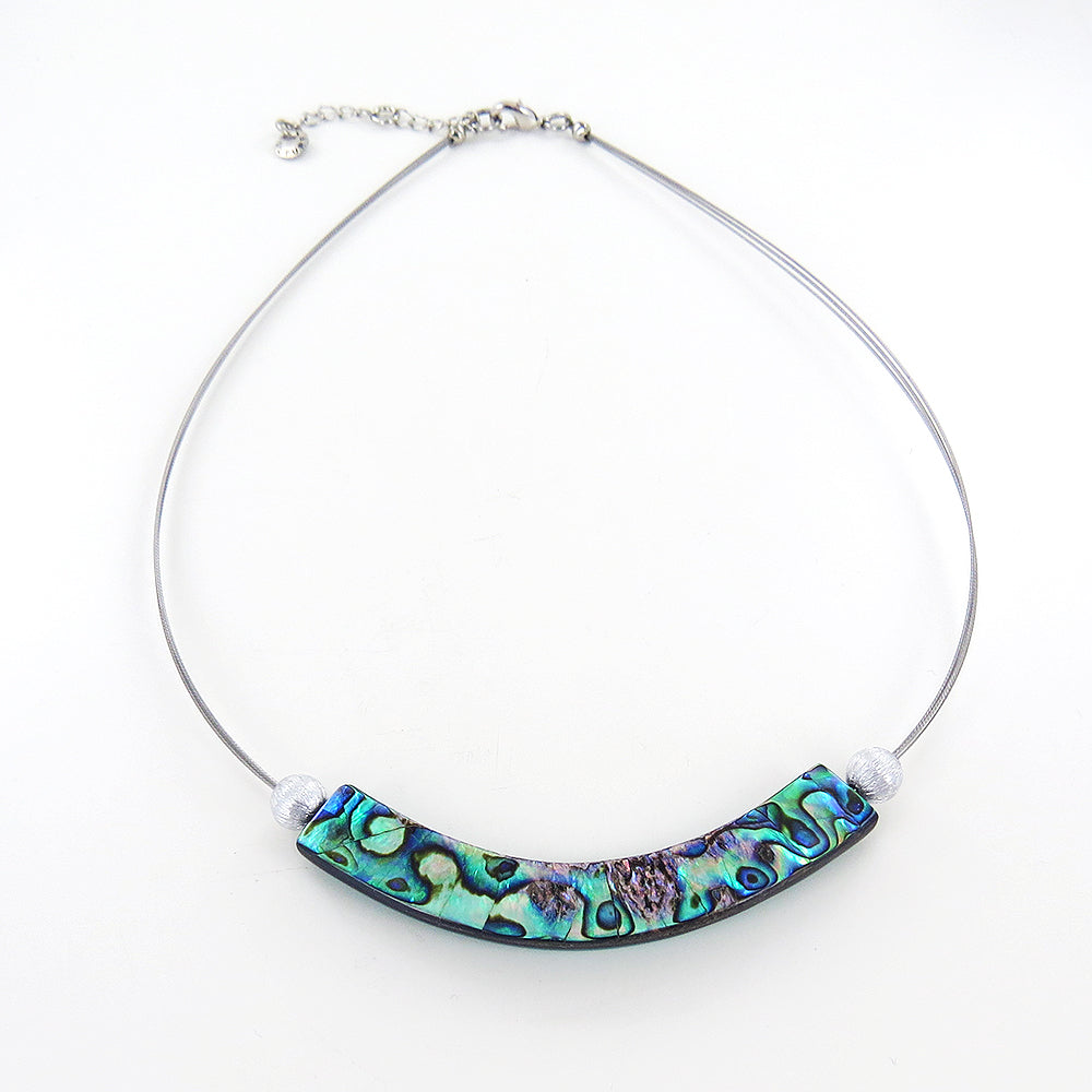 TURQUOISE PAUA SHELL AND RESIN CURVED NECKLACE