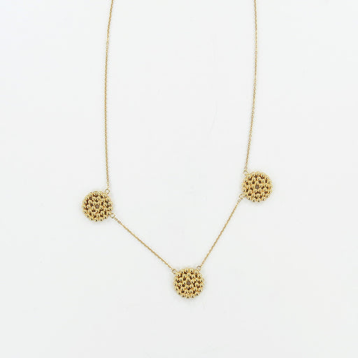 14K BEADED TRIPLE CIRCLE NECKLACE