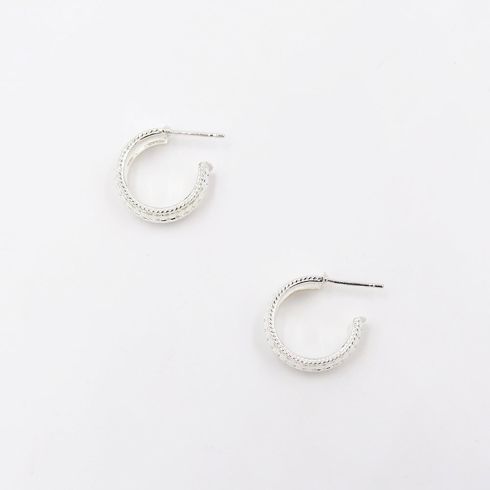 SILVER SMALL DOME HOOP EARRINGS