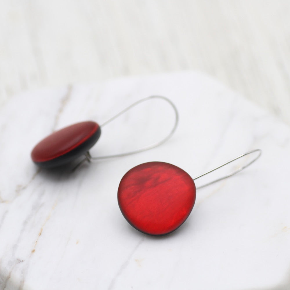 RED ROUND RESIN EARRING