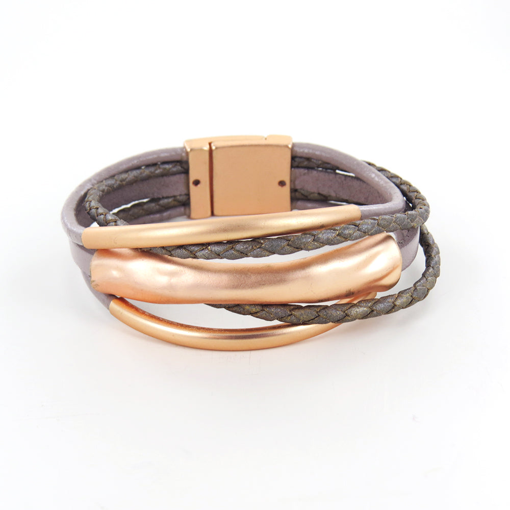 TAUPE  LEATHER AND MATTE GOLD LEAF BRACELET