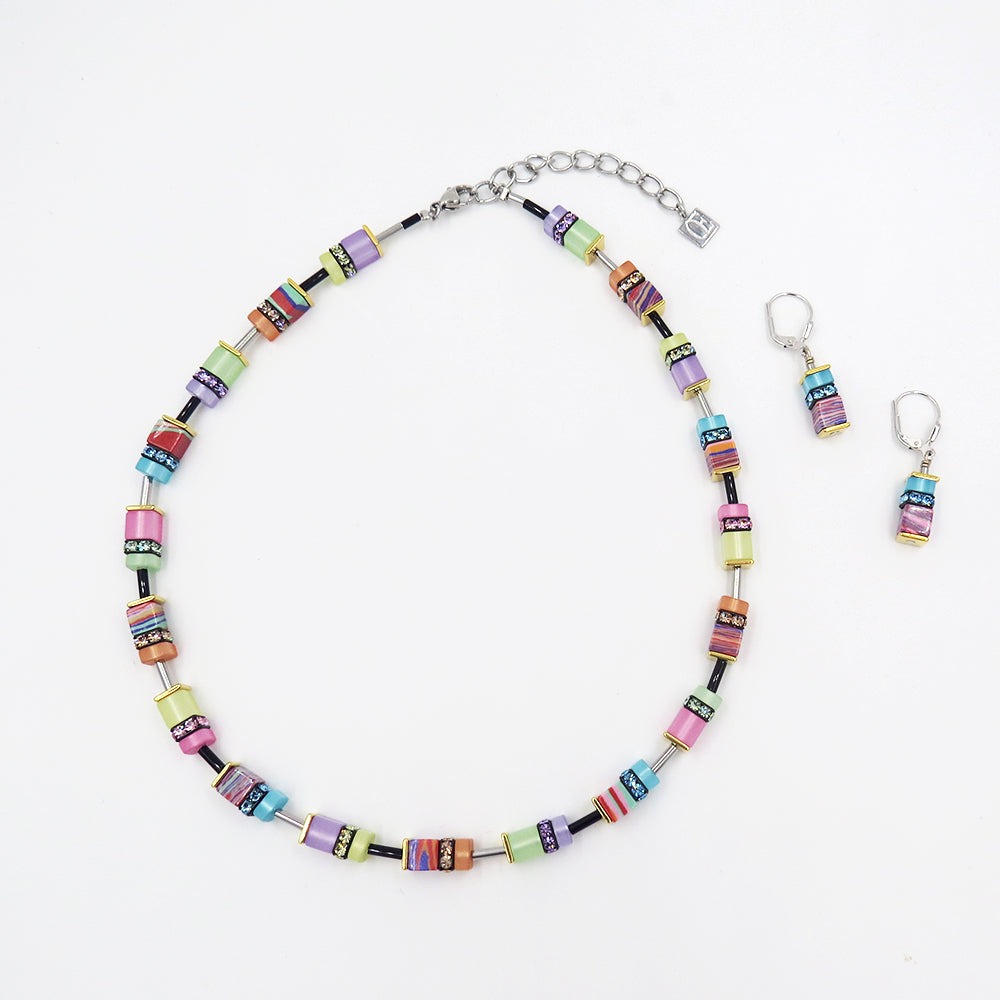 PASTEL MARBLE GEOCUBE NECKLACE
