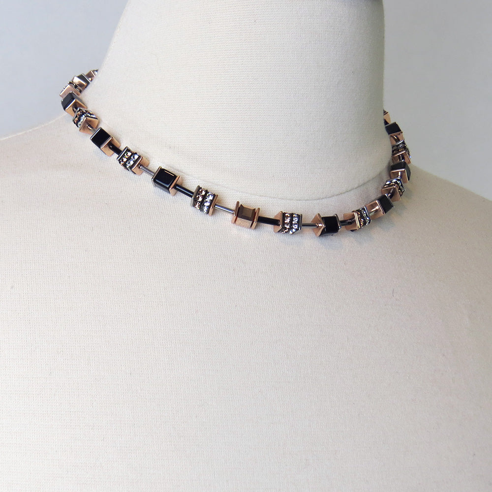 ROSE GOLD AND BLACK SWAROVSKI CRYSTALS NECKLACE