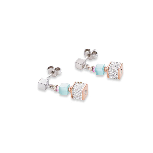 Mint Cat Eye Cubes Earring & Pave Crystal Swarovski Earring