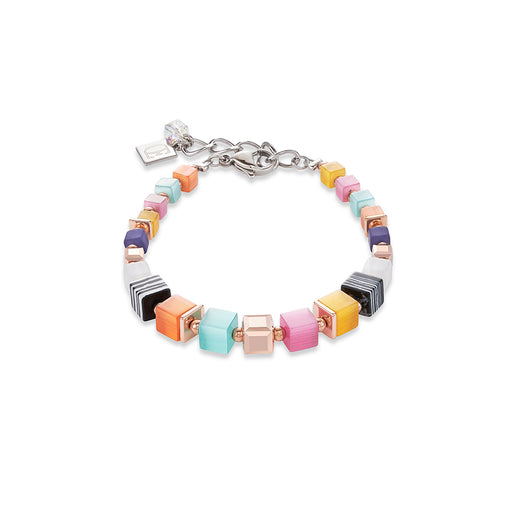 Orange, Purple, Yellow, And Pink Cat Eye Bracelet