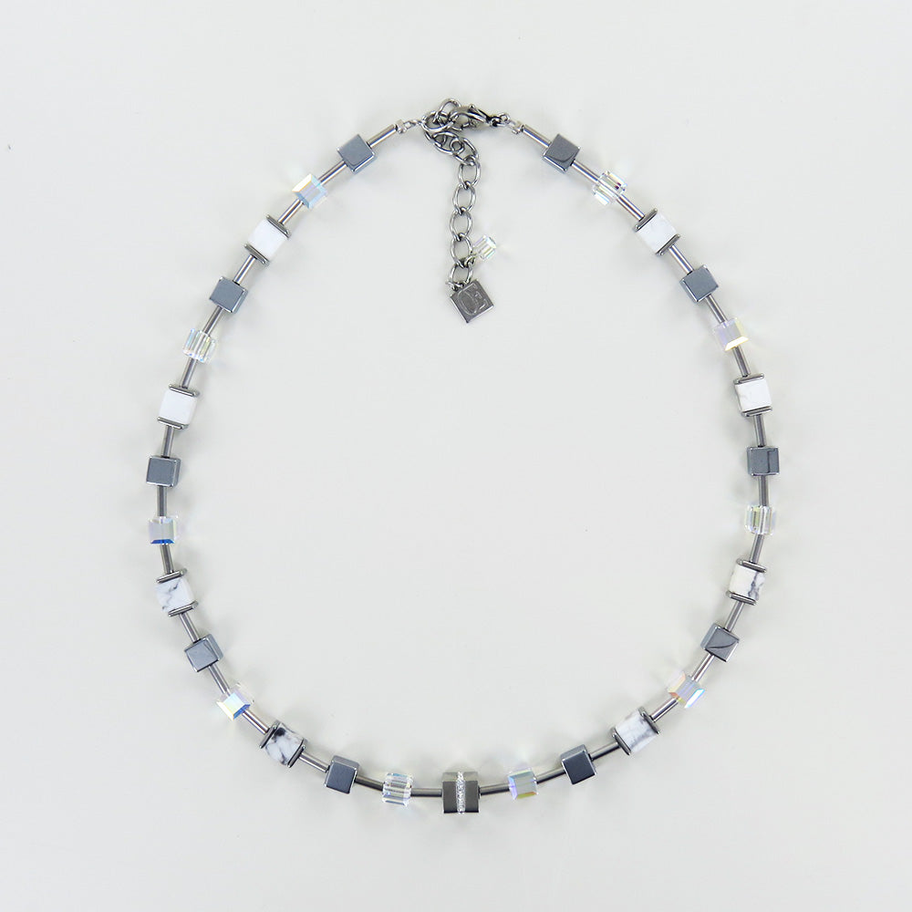 GEOCUBE STAINLESS STEEL AND HOWLITE NECKLACE