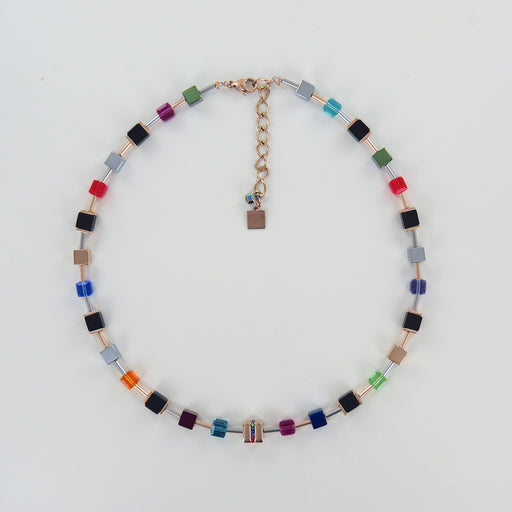 GEOCUBE STAINLESS STEEL AND MULTICOLOR NECKLACE