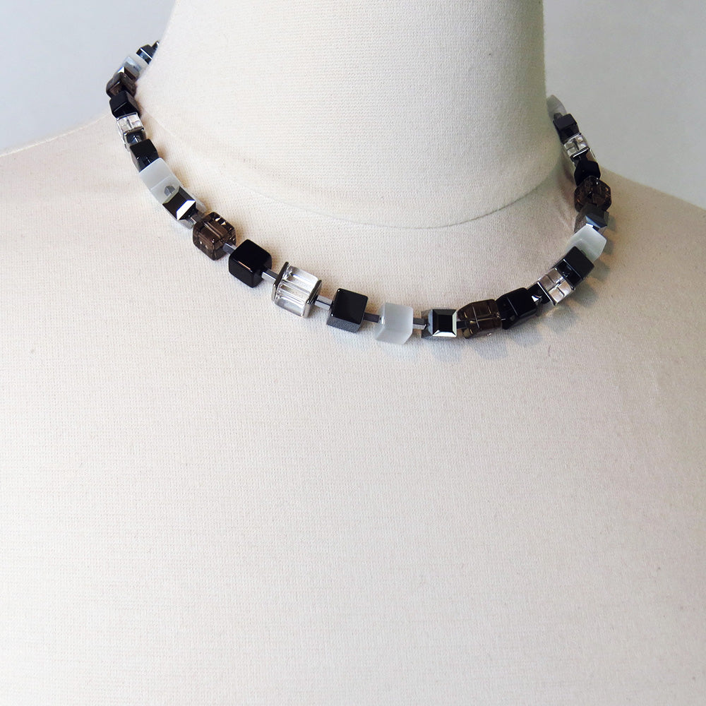 SWAROVSKI CRYSTALS, HEMATITE AND GEMSTONE NECKLACE