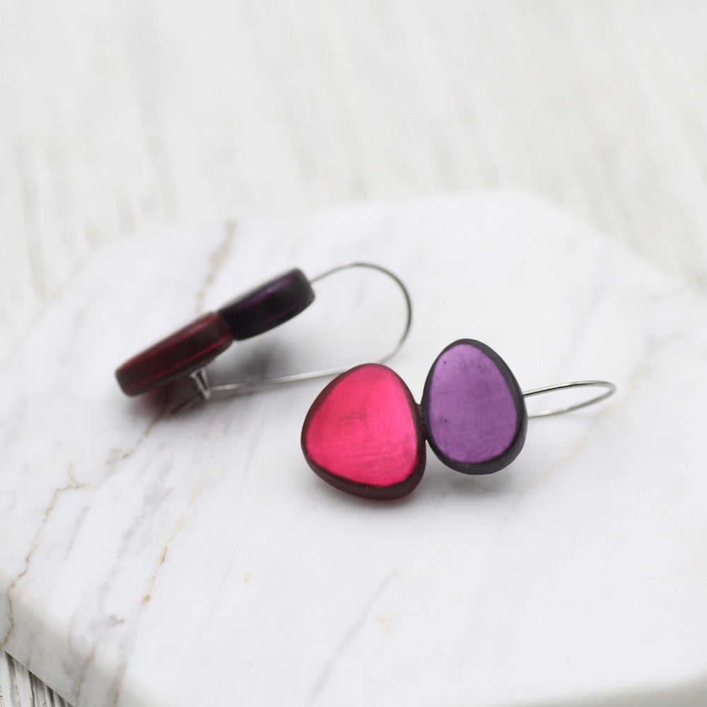 VIOLET AND MAGENTA TWO TONE EARRING