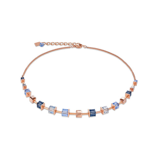 Blue Crystallized Swarovski Cubes Necklace