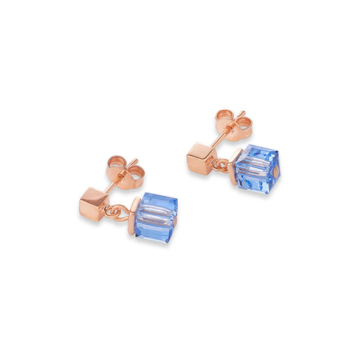 Blue Crystallized Swarovski Cubes Earring