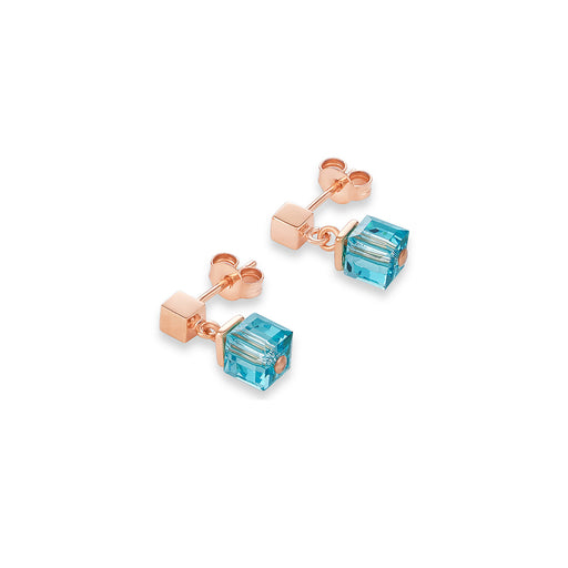 Teal Blue Crystallized Swarovski Cubes Earring