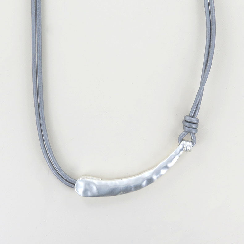 GREY LEATHER AND MATTE SILVER NECKLACE
