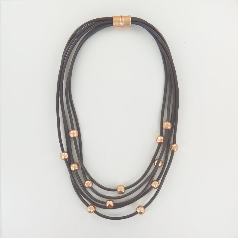 METALLIC BROWN LEATHER AND GOLD BEAD NECKLACE
